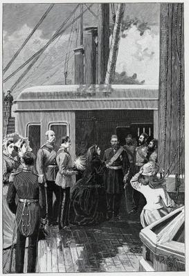 The Queen investing Abdul Aziz with the Order of the Garter, 1881