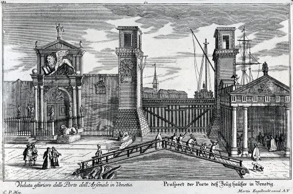 View of the gates at the entrance to the Arsenal in Venice, published by Martin Engelbrecht, c.1740s