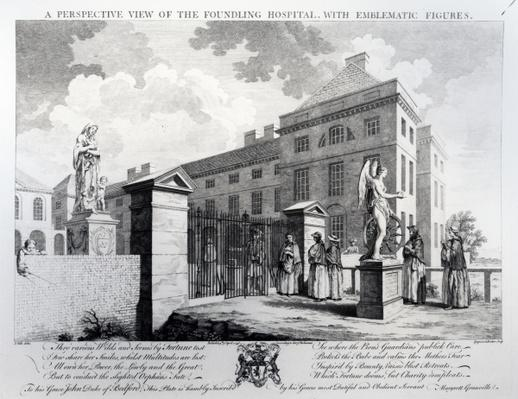 A perspective view of the Foundling Hospital, engraved by Edward Rooker, 1749