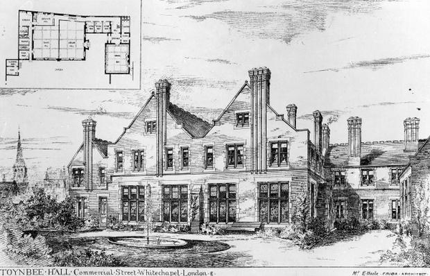 Toynbee Hall, illustration from 'The Builder', February 14th, 1885