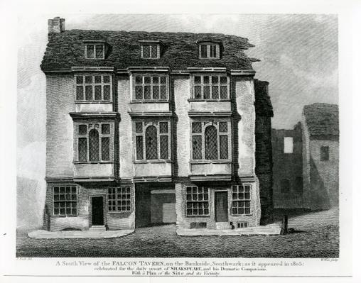 A South View of the Falcon Tavern, on the Bankside, Southwark, engraved by William Wise, 1811