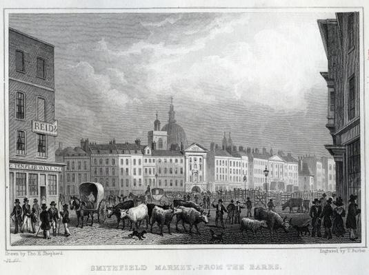 Smithfield Market from the Barrs, engraved by Thomas Barber, c.1830