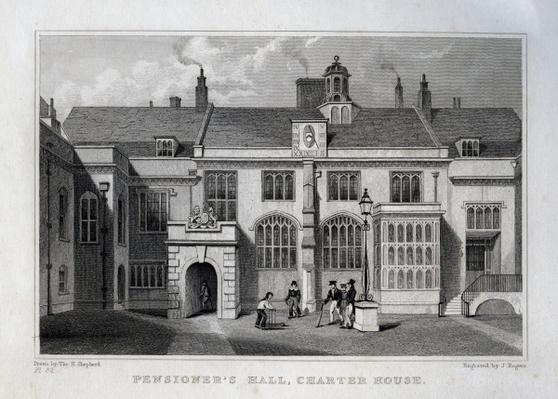 Pensioner's Hall, Charter House, engraved by John Rogers, 1830