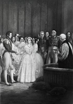 The wedding ceremony of Queen Victoria and Prince Albert on 10th February 1840