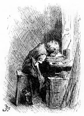 Charles Dickens at the Blacking Factory, an illustration from 'The Leisure Hour', 1904