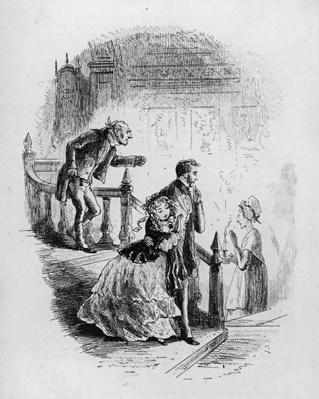 Flora's tour of inspection, illustration from 'Little Dorrit' by Charles Dickens, 1857