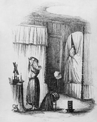 The Middle-Aged Lady in the Double-Bedded Room, illustration from 'The Pickwick Papers' by Charles Dickens, published in 1837