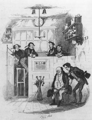 Mr. Pickwick and Sam in the attorney's office, illustration from 'The Pickwick Papers' by Charles Dickens, 1837