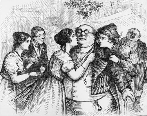 'It was a pleasant thing to see Mr. Pickwick in the centre of the group', illustration from 'The Pickwick Papers' by Charles Dickens