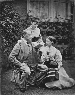 Charles Dickens with two of his daughters, c.1865