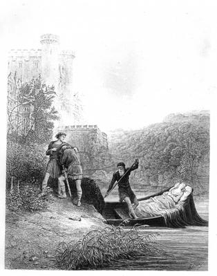 Lancelot looks upon the body of the Lady Elaine, illustration from 'The Idylls of the King' by Alfred Tennyson