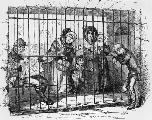 Kit in Jail, illustration from 'The Old Curiosity Shop' by Charles Dickens, 1841