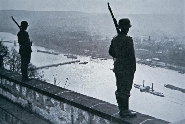 German sentries on the ramparts of the Ehrenbreitstein Castle, 1936