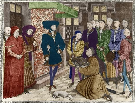 Ms 9242 'Hainaut Chronicles', Philip the Good, Duke of Burgundy, presented with the translation of the Chronicles by Jean Vauquelin, Charles the Bold as a child on his left