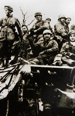 Men of the German 5th Parachute Division at the front, Ardennes, 1944