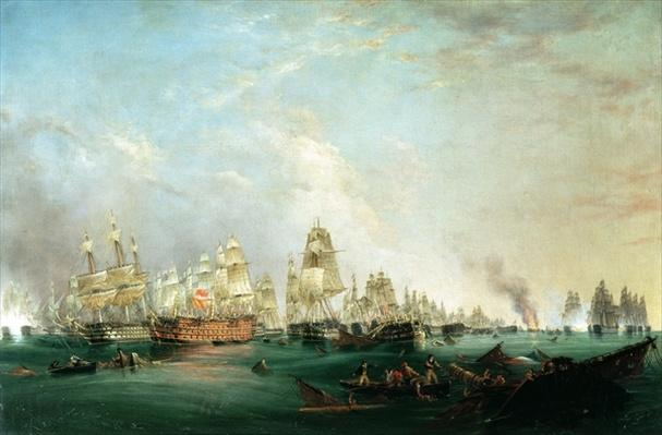 Surrender of the 'Santissima Trinidad to Neptune, The Battle of Trafalgar, 3pm, 21st October 1805