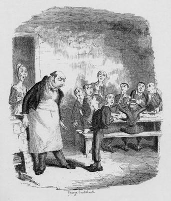 Oliver asking for more, from 'The Adventures of Oliver Twist' by Charles Dickens