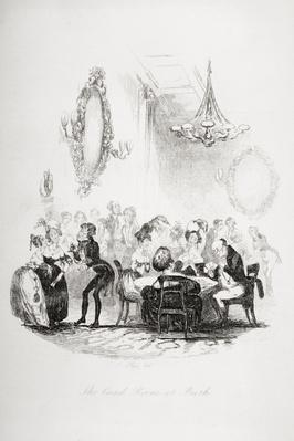 The card room at Bath, illustration from `The Pickwick Papers', by Charles Dickens