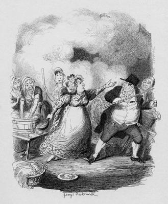 Mr Bumble degraded in the eyes of the paupers, from 'The Adventures of Oliver Twist' by Charles Dickens