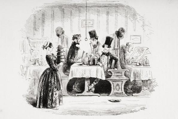 Mr. Guppy's entertainment, illustration from 'Bleak House' by Charles Dickens
