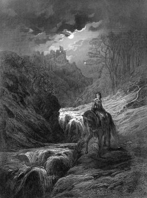 The Moonlight Ride, illustration from 'Idylls of the King' by Alfred Tennyson, 1868