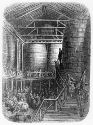 Large barrels in a brewery, from 'London, a Pilgrimage', written by William Blanchard Jerrold