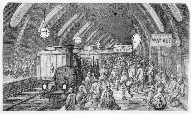 The workmen's train, from 'London, a Pilgrimage', written by William Blanchard Jerrold