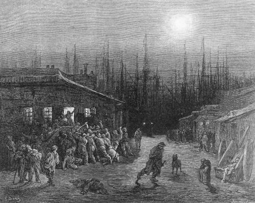 The Docks Night Scene, from 'London, a Pilgrimage', written by William Blanchard Jerrold