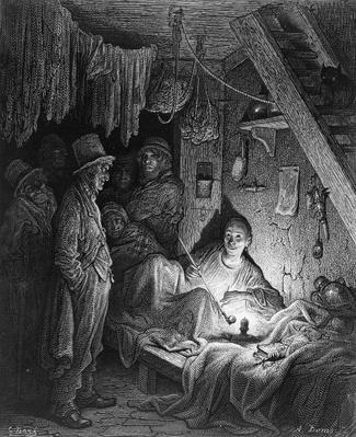 Opium Smoking - The Lascar's Room, scene from 'The Mystery of Edwin Drood' by Charles Dickens, illustrated in 'London, a Pilgrimage', written by William Blanchard Jerrold