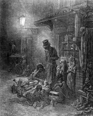 Off Billingsgate, view of Harrow Alley, from 'London, a Pilgrimage', written by William Blanchard Jerrold