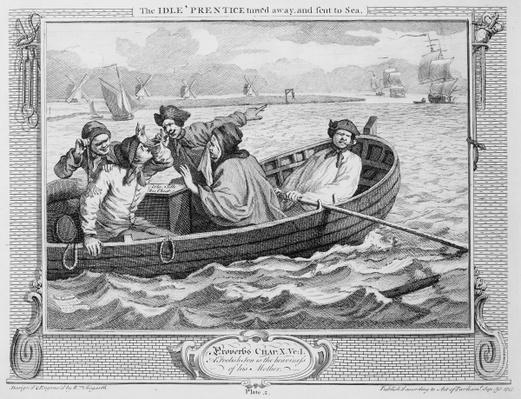 The Idle 'Prentice Turned Away and Sent to Sea, plate V of 'Industry and Idleness', 1747