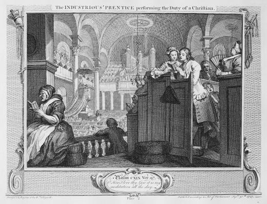 The Industrious 'Prentice Performing the Duty of a Christian, plate II of 'Industry and Idleness', 1747