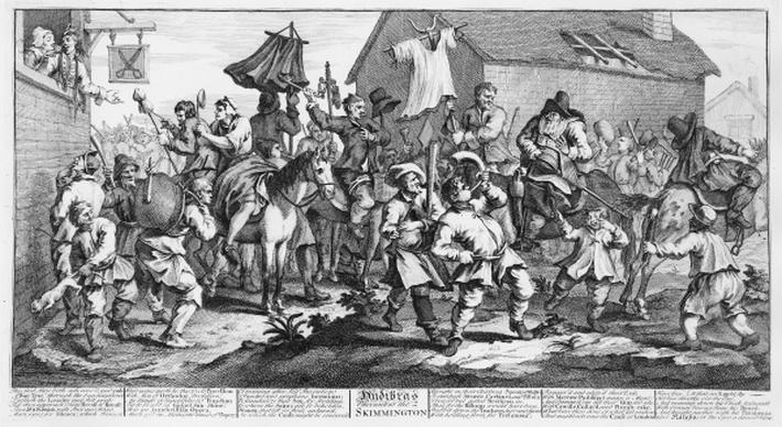 Hudibras Encounters the Skimmington, from 'Hudibras', by Samuel Butler, 1726