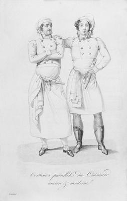 Costumes of cooks from different eras, from 'Le Maitre d'Hotel francais' by Marie Antoine Careme, published in 1822