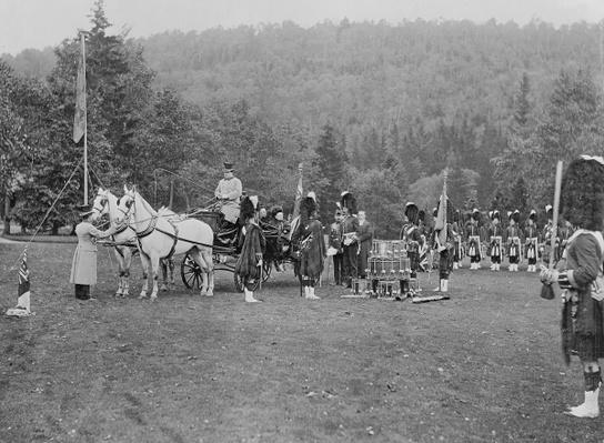 Queen Victoria presenting colours to the Cameron Highlanders, 1873