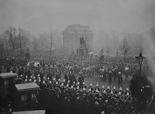 Queen Victoria's funeral cortege passes Marble Arch, 2nd February 1901