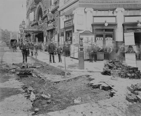 Removing the cobblestones outside the Criterion Theatre