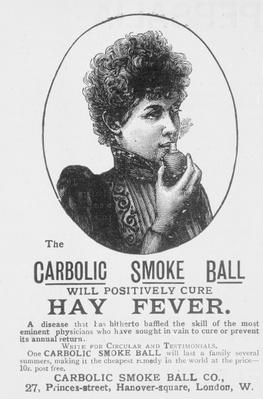 Advertisement for the Carbolic Smoke Ball, a cure for hay fever