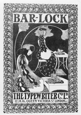Advertisement for Bar-Lock Typewriters, c.1895