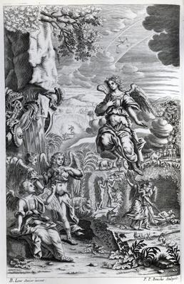 The archangel Uriel informs Gabriel that Satan is in the Garden of Eden, illustration from 'Paradise Lost' by John Milton, engraved by P.P Bouche, sixth edition, 1695