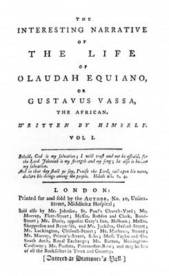 Title page to 'The Interesting Narrative of the Life of Olaudah Equiano, or Gustavus Vassa, the African, written by himself', published 1789