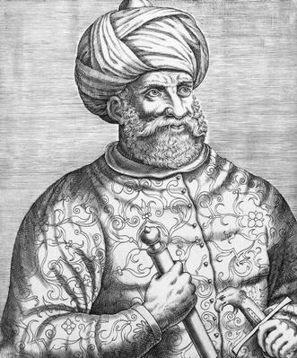 Barbarossa, illustration from Andre Thevet's 'Des vrais pourtaits et vies des hommes illustres', 1584