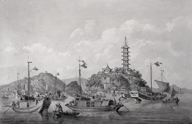 View of Golden Mountain Island in the Blue River, China, c.1794