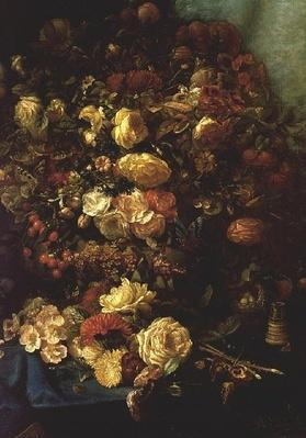 Still Life of Flowers on a Ledge with Birds Nest, 1884