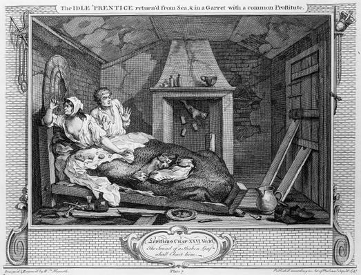 The Idle 'Prentice Returned from Sea, and in a Garret with a common Prostitute', plate VII of 'Industry and Idleness', 1747
