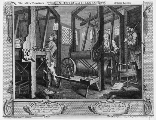 The Fellow 'Prentices at their Looms, plate I of 'Industry and Idleness', 1747