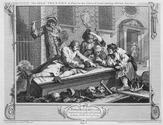 The Idle 'Prentice at Play in the Church Yard During Divine Service, plate III of 'Industry and Idleness', 1747