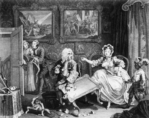 A Harlot's Progress, plate II, Quarrels with her Jew Protector