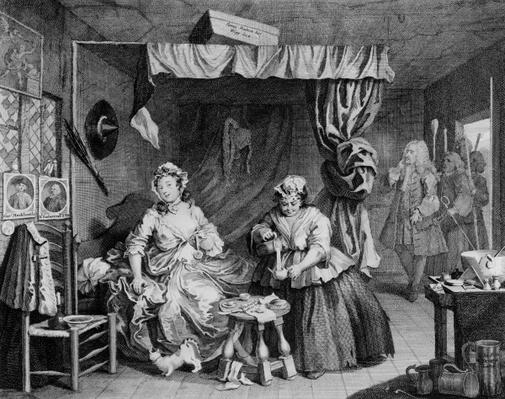 A Harlot's Progress, plate III, 'Apprehended by the Magistrate', 1732