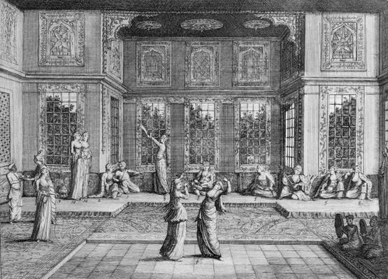Women dancing in the Harem, from 'Voyages de Sr A. de la Motraye en Europe, Asie et Afrique', published 1723,